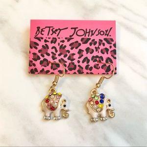 🎉 New Betsey Johnson Crystal White Elephant Earrings